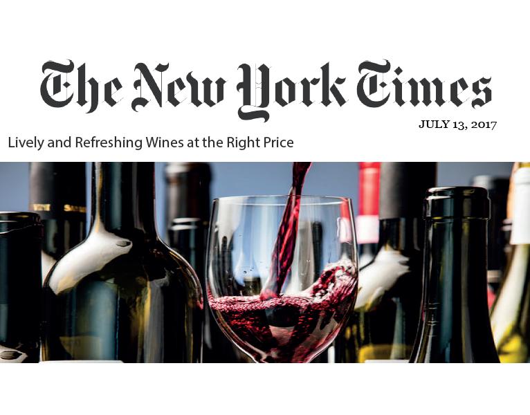 Il New York Times ha recensito il vino Cantinarte come di ottima qualità